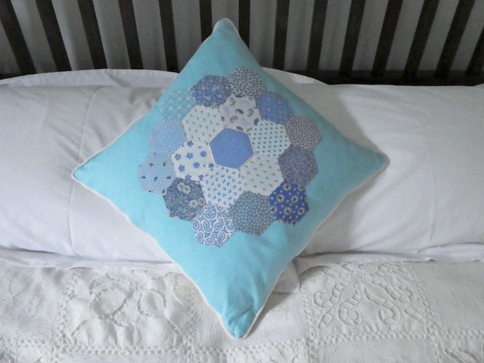 Blue patch work cushion 1